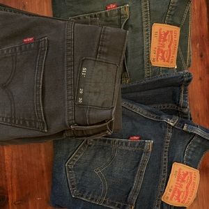 3 pairs of Levi 511 jeans 29x30